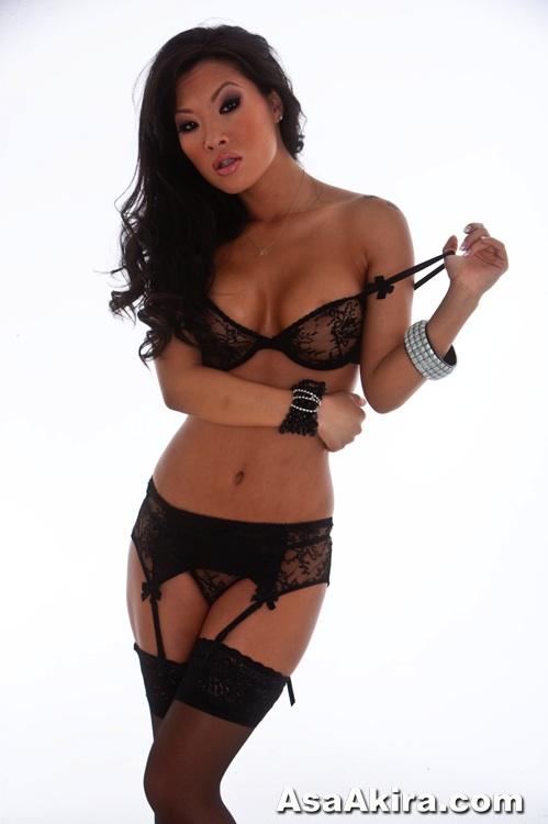 Sexy Asa Akira strips off black lingerie.